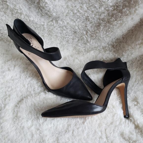 Vince Camuto Shoes - Vince Camuto Carlotte Black Leather Heels Sz 8.5